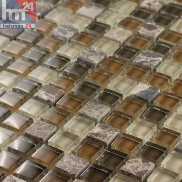 Glasmosaik Mundoo Naturstein Mosaikfliese hellbraun braun beige dunkelbraun Bad Küche Fliesenspiegel Dusche