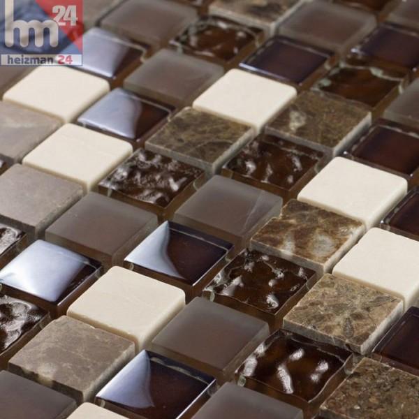 Glasmosaik Campos Naturstein Mosaikfliese braun weiß für Bad Dusche Küche Fliesenspiegel Pool