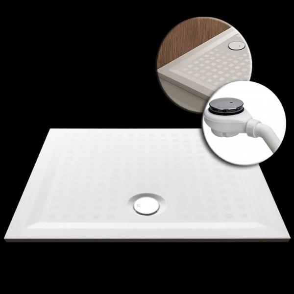 Mineralguss-Duschwanne 90x70x1,5cm mit Antirutschbeschichtung Made by Hoesch inkl. Ablauf