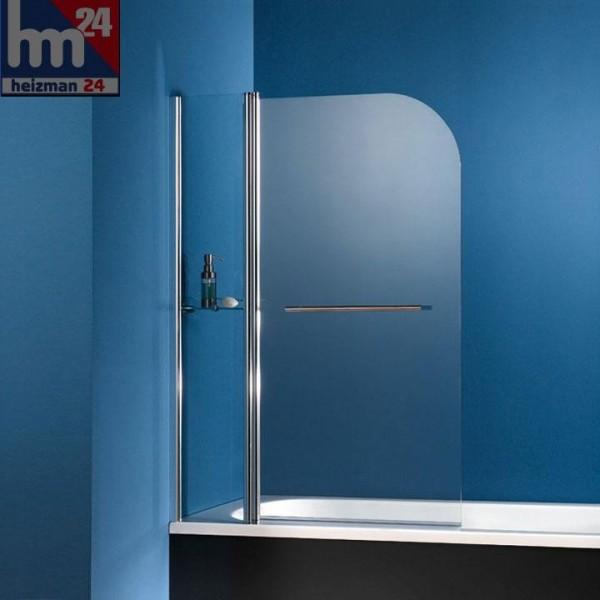 HSK Exklusiv Badewannenaufsatz 2-teilig inkl. Handtuchhalter, chrom und Glasablage
