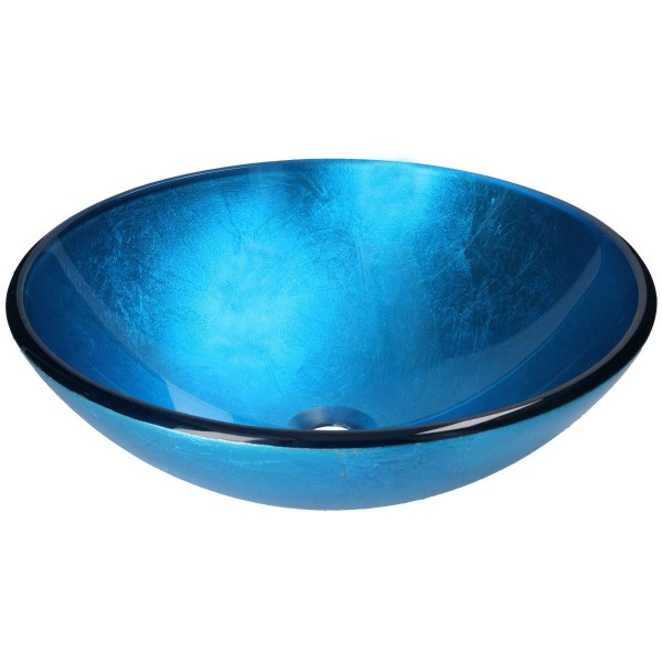 Blue Lagoon Aufsatzwaschbecken Glas Waschschüssel FG318 rund Ø 41,5 cm Handmade