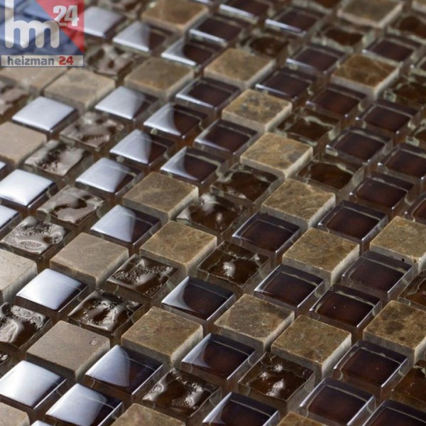 Glasmosaik Parana Naturstein Mosaikfliese dunkelbraun braun Bad Küche Fliesenspiegel Dusche Pool