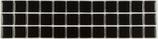 Bordüre Mosaik Black Stone Glas 27,7 x 7,7 x 0,4 cm