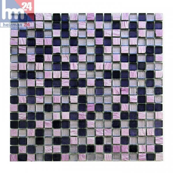 Glasmosaik Avellino Naturstein Mosaikfliese Violett Lila Rosa