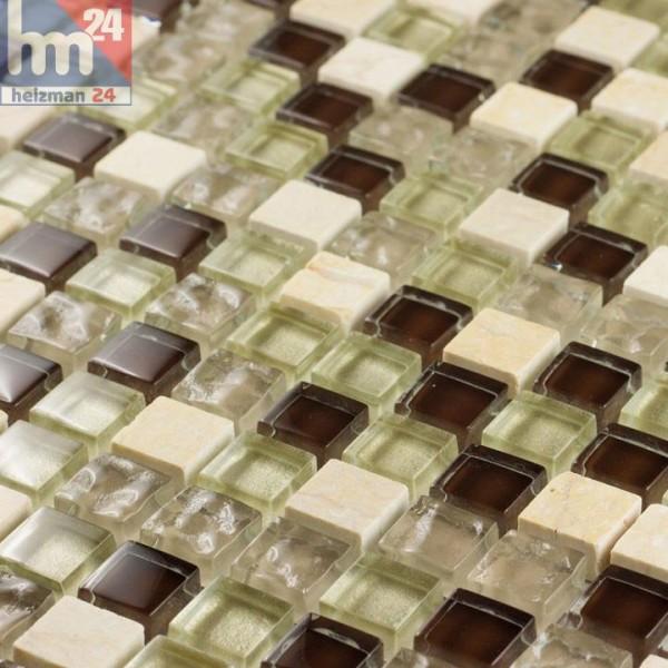 Glasmosaik Muro Naturstein Mosaikfliese creme braun transparent weiß Bad Küche Dusche Fliesenspiegel