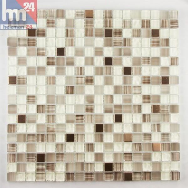 Glasmosaik Muro Naturstein Mosaikfliese creme braun weiß transparent 30x30 Bad