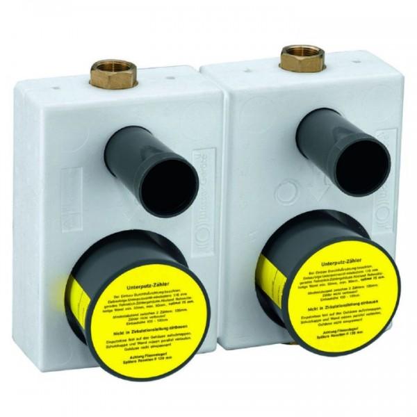 Wasserzähler UP Montageblock WG-TEC 3000 Double 33712 Wasser-Zähler Messing