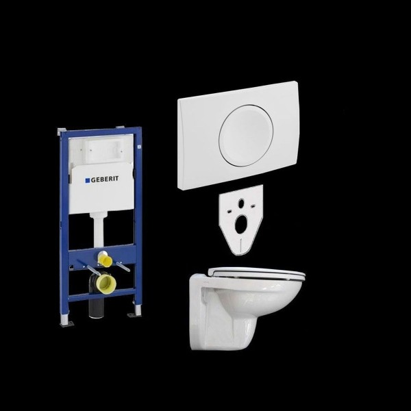 Komplettset Geberit Duofix Basic UP100 + WC + Betätigungsplatte Geberit Delta 11