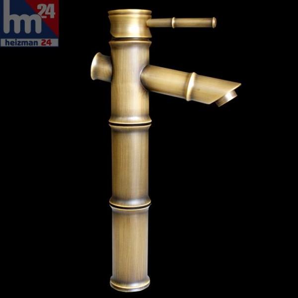 Einhebel-Waschtischarmatur in Bambus - Optik aus Messing ohne Ablaufgarnitur