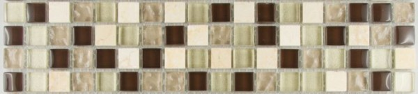 Bordüre Mosaik Muro Glas Naturstein Fliese / Matte 30 x 6,5 x 0,8 cm