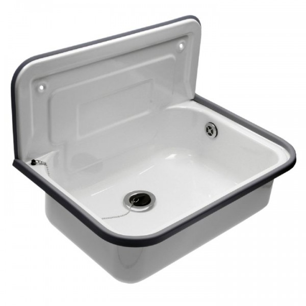 ausgussbecken waschbecken stahl emailliert 500x325 mm mit. Black Bedroom Furniture Sets. Home Design Ideas
