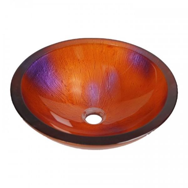 Red Flower Aufsatzwaschbecken Glas Waschschüssel FG841 rund Ø 42,5 cm Handmade