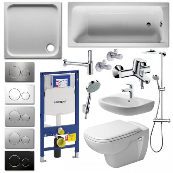 Komplettbad Duravit D-Code WC spülrandlos Duschwanne Badewanne Waschbecken Duschkabine