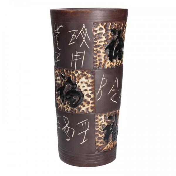 Vase Keramikvase mit asiatischen Schriftzeichen Braun handgearbeitet