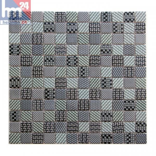 Mosaikfliese Potenza grün grau blau schwarz Retro Muster Mosaik Dusche Pool Küche Bad Fliesenspiegel