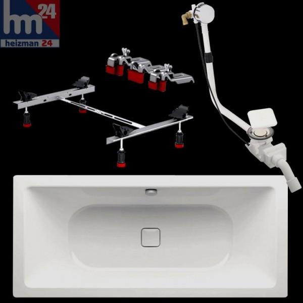 Kaldewei Avantgarde Conoduo 733 Stahl-Badewanne 180 x 80 cm mit Badewannenfuß inkl. Überlaufgarnitur