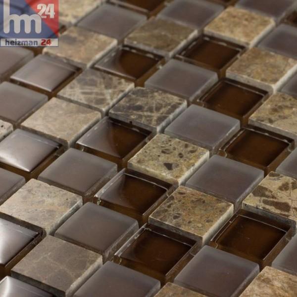 Glasmosaik Ses Palmeres Naturstein Mosaikfliese braun für Bad Dusche Fliesenspiegel Küche Pool
