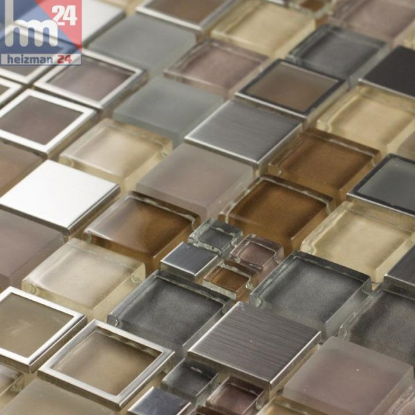 Glasmosaik Mato Grosso Naturstein Metall grau braun beige silber Bad Küche Fliesenspiegel Dusche