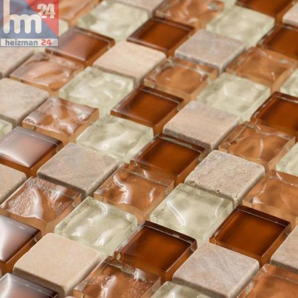 Glasmosaik Sa Coma Naturstein Mosaikfliese braun creme weiß orange Bad Küche Fliesenspiegel Dusche