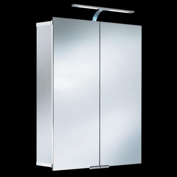LED-Spiegelschrank in Aluoptik 630x685x170 mm mit doppelseitigen Spiegeltüren