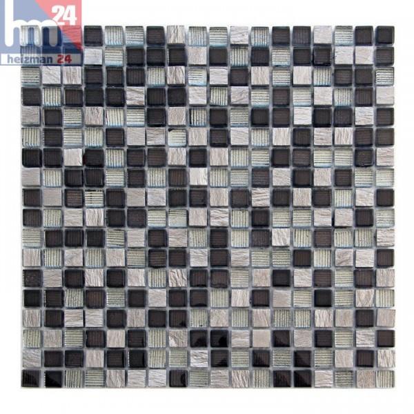 Glasmosaik Solofra Naturstein Mosaikfliese grau schwarz silber Streifen Bad Küche Fliesenspiegel Pool