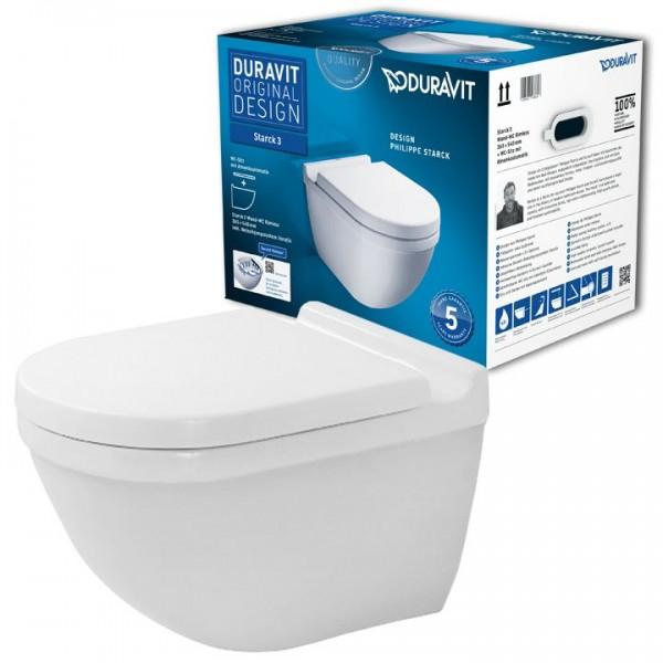 Duravit Starck 3 Rimless Wandtiefspül-WC Set spülrandlos 45270900A1 inkl. WC-Sitz SoftClose