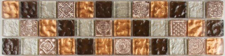 Mosaik Santanyi Glas Naturstein Metall Bordüre 29,5 x 7,5 x 0,8 cm