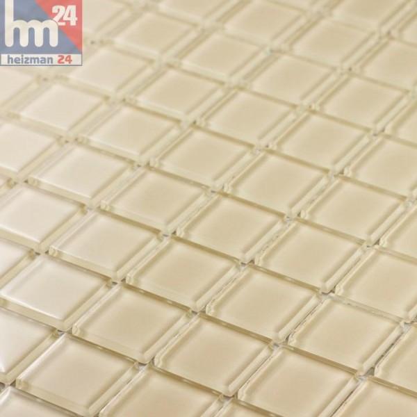 Glasmosaik Crystal Beige Mosaikfliesen beige Pool, Dusche, Bad, Küche, Fliesenspiegel