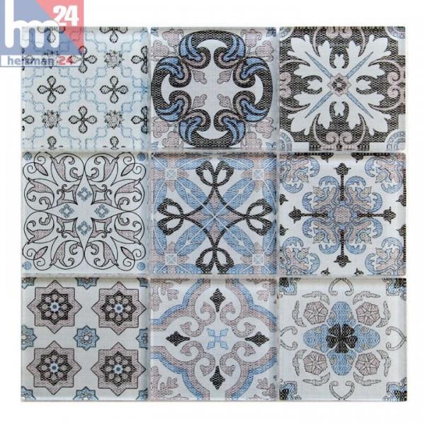 Glasmosaik Salerno blau beige weiß schwarz Ornament Mosaikfliese Bad Küche Dusche Fliesenspiegel