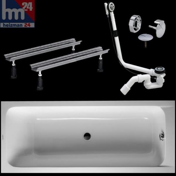 Duravit D-Code Acryl-Badewanne 170 x 70 cm mit Wannenfüße inkl. Ab- und Überlaufgarnitur