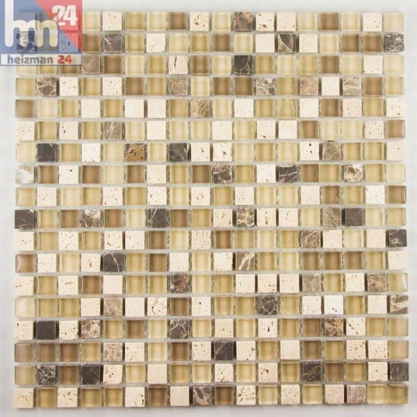 Glasmosaik Rimini Naturstein Mosaikfliese Beige Braun Creme Für Bad Küche  Pool Fliesenspiegel