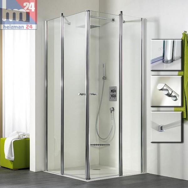 HSK Exklusiv Duschabtrennung / Duschkabine Eckeinstieg 4-tlg. 100x100x200 cm Edelglasbeschichtung