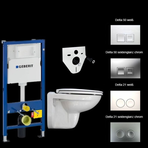 Komplettset Geberit Duofix Basic UP100 + WC + Betätigungsplatte Geberit Delta