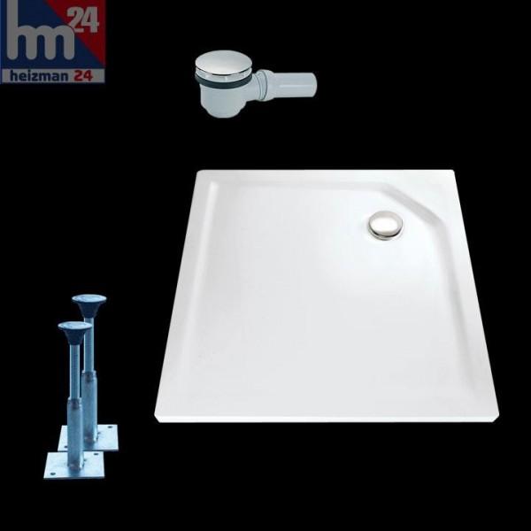 HSK Marmor-Polymer-Duschwanne Quadrat super-flach weiß ohne Schürze