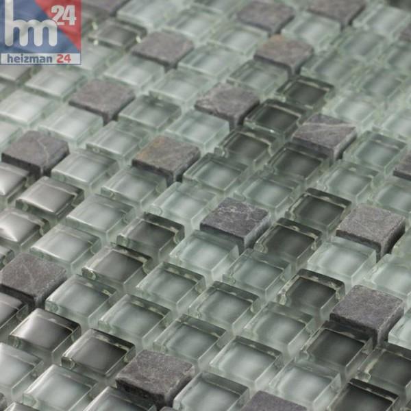 Glasmosaik Valldemossa Naturstein hellgrau grau dunkelgrau transparent Bad Küche Fliesenspiegel Pool
