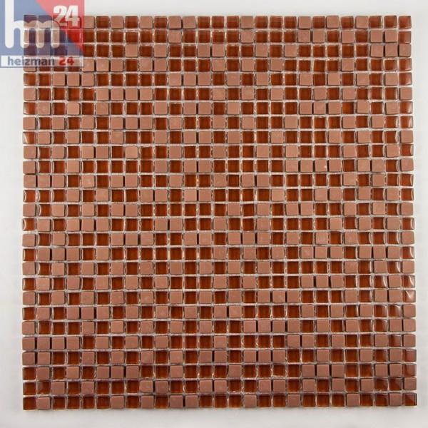 Glasmosaik Trivelato Naturstein Mosaikfliesen braun rot Pool, Dusche, Bad, Küche, Fliesenspiegel