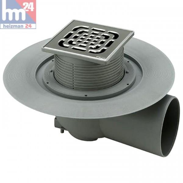 Viega Advantix-Bodenablauf DN 70 mit Aufsatz und Abdichtungsflansch 150 x 150 mm 557164
