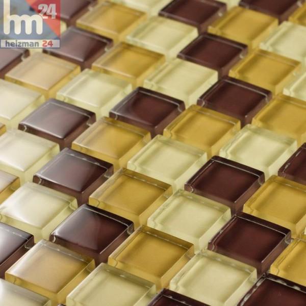 Glasmosaik Porto Cristo Mosaikfliese gelb creme braun für Pool Küche Bad Fliesenspiegel