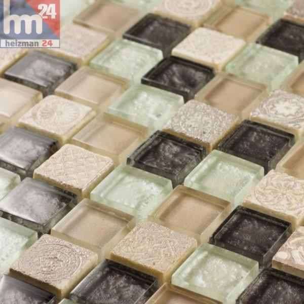 Glasmosaik Pulau Tuba Naturstein Ornamente Mosaikfliese beige weiß creme braun Bad Küche Fliesenspiegel