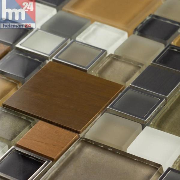Glasmosaik Manaus Naturstein Metall Mosaikfliese Grau Kupfer Weiß Silber Beige  Bad Dusche Küche