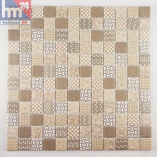 Mosaikfliese Maschito Weiss Beige Grau Braun Retro Muster Mosaik
