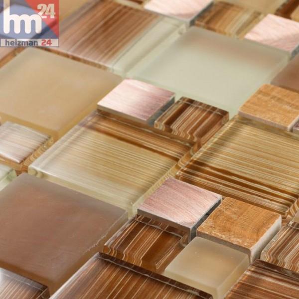 Glasmosaik Marbella Naturstein Metall Elemente kupfer braun beige terracotta Bad Küche Fliesenspiegel Pool