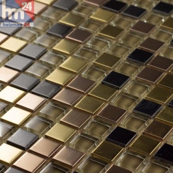 Glasmosaik Campo Grande Metall Elemete braun kupfer gold anthrazit Bad Dusche Fliesenspiegel Küche