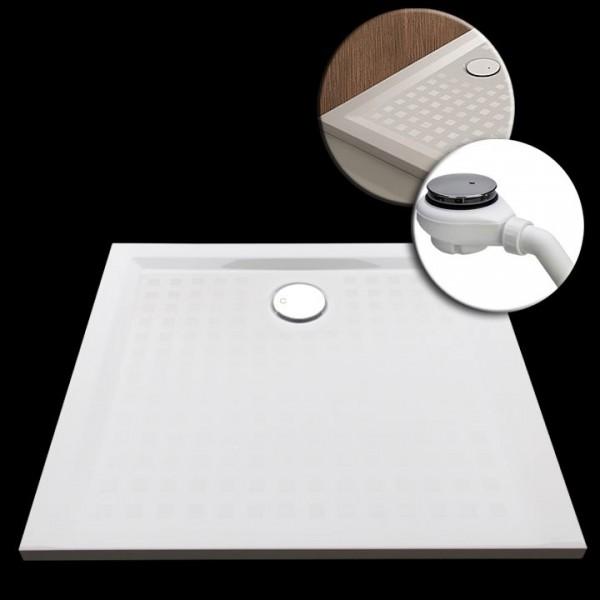 Mineralguss-Duschwanne 90x90x1,5cm mit Antirutschbeschichtung Made by Hoesch inkl. Ablauf