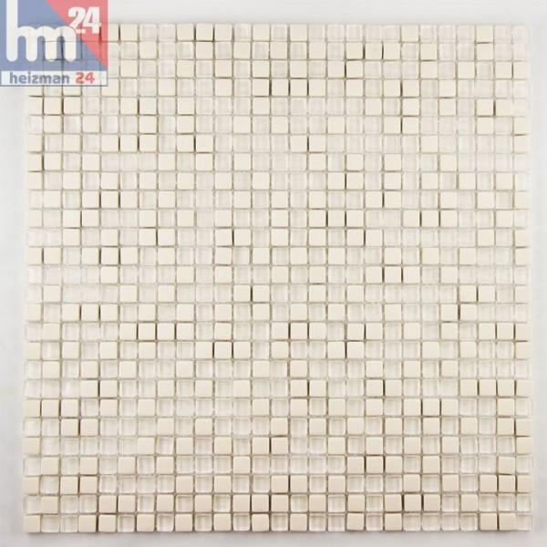 glasmosaik vilhena naturstein mosaikfliese transparent beige pool bad dusche k che. Black Bedroom Furniture Sets. Home Design Ideas