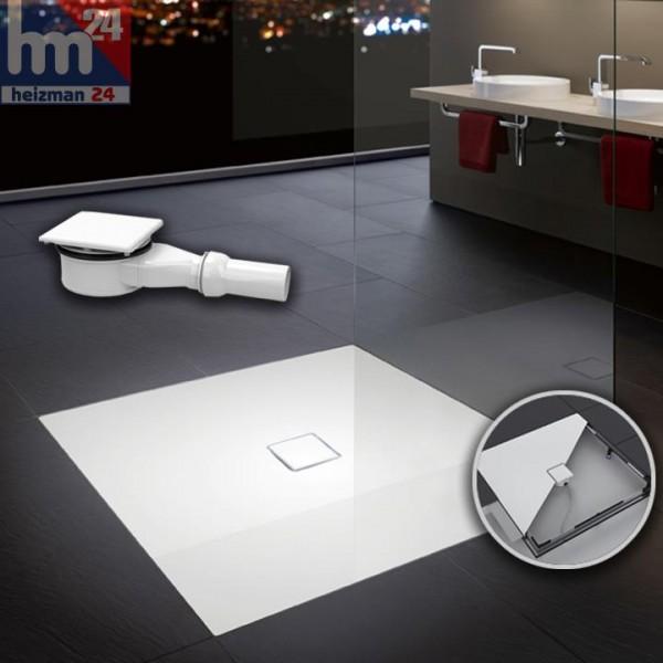Kaldewei Conoflat Quadrat Stahl-Duschwanne 90 x 90 oder 100 x 100 cm inkl. ESR II Rahmen und Ablauf