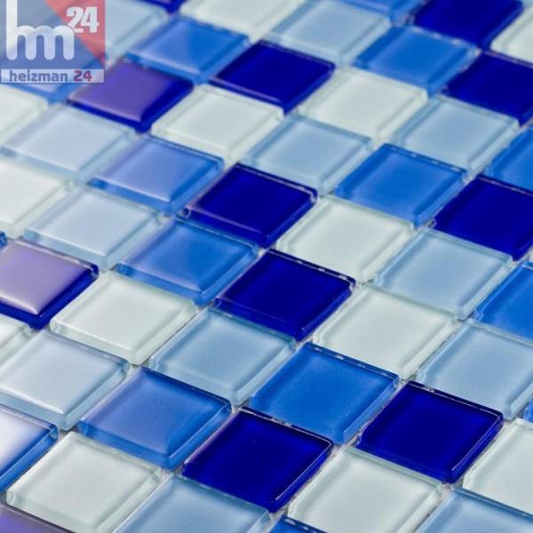 Glasmosaik Lohi Fushi Mosaikfliese Weiß Hellblau Blau Dunkelblau F - Glasmosaik fliesen blau