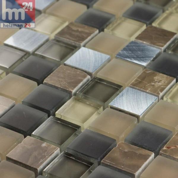 Glasmosaik Llevant Naturstein Metall Mosaikfliese braun beige silber schwarz Bad Küche Dusche Fliesenspiegel
