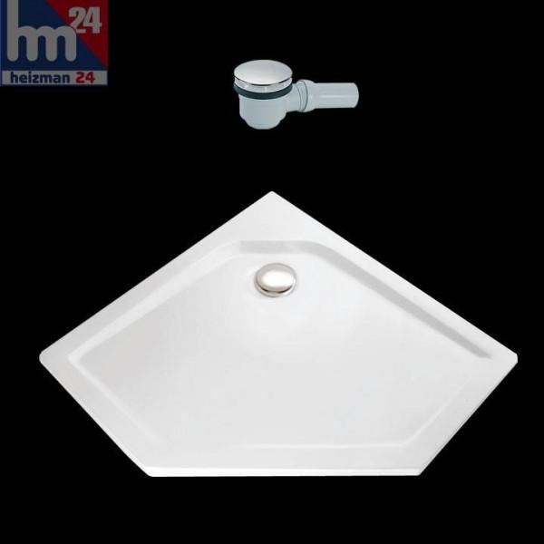 HSK Acryl-Duschwanne Fünfeck für Bodeneinbau super-flach weiß