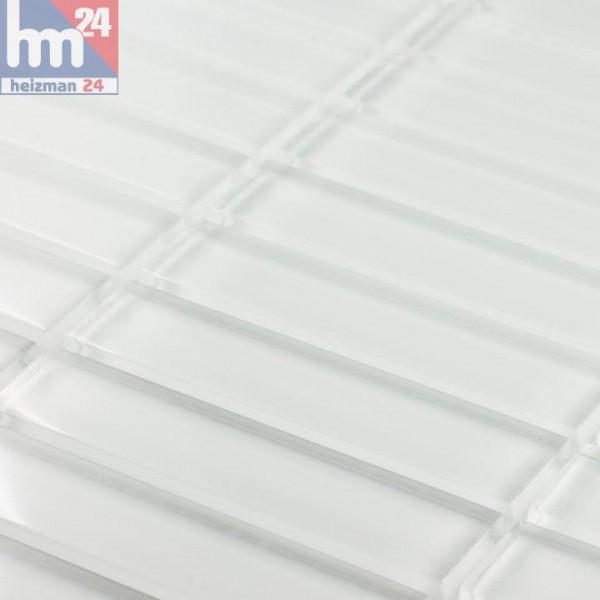 Glasmosaik White Glossy Stäbchenmosaik Mosaikfliese weiß Bad Küche Fliesenspiegel Dusche Pool